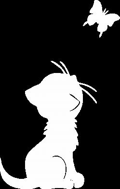 Принт Мужская футболка  с V-образным вырезом котик и бабочка - FatLine