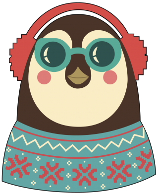 ����� ������� ��������� �� ������ Hipster Christmas Penguin - FatLine