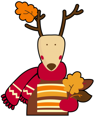 Принт Подушка Cute deer in a scarf - FatLine