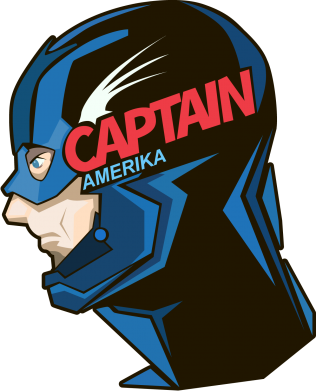 Принт Футболка Поло Captain America Art - FatLine