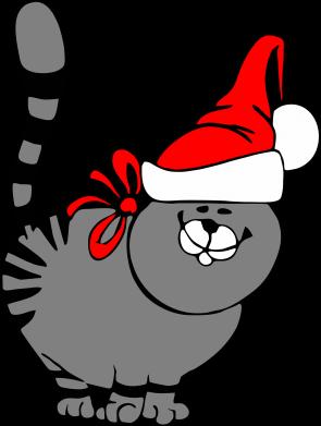 Принт Майка-тельняшка Новогодний котэ - FatLine