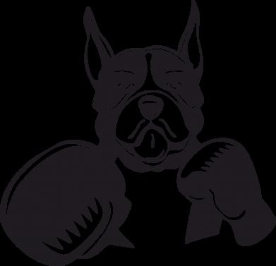 Принт Женская футболка с V-образным вырезом Собака в боксерских перчатках - FatLine