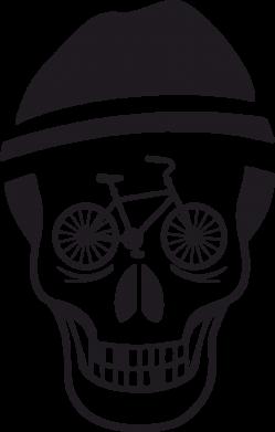 Принт Футболка с длинным рукавом Череп велосипедиста - FatLine