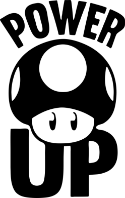 Принт Футболка с длинным рукавом Power Up гриб Марио - FatLine