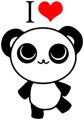 Принт Толстовка I love Panda - FatLine