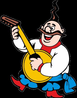 Принт Мужская толстовка на молнии Козак с бандурой - FatLine