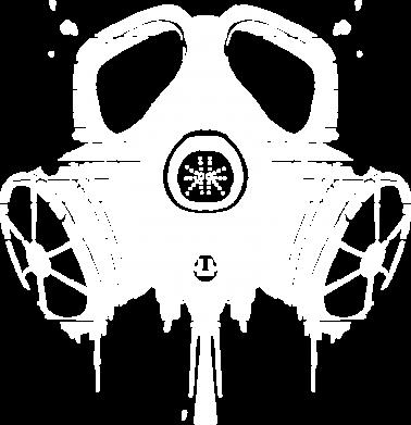 Принт Женская футболка с V-образным вырезом The Chemodan Clan противогаз - FatLine