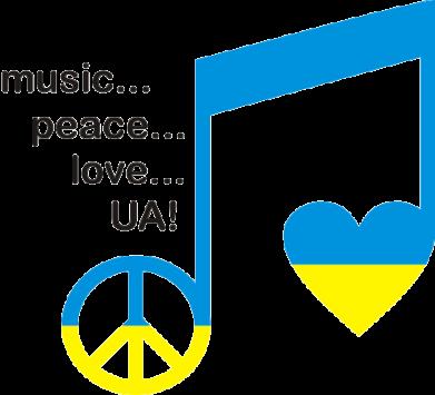 Принт Фартук Music, peace, love UA - FatLine