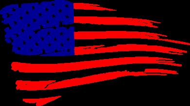 Принт Мужская футболка  с V-образным вырезом Флаг США - FatLine