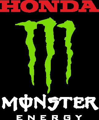 Принт Женская футболка с V-образным вырезом Honda Monster Energy - FatLine