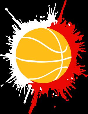 Принт Женская футболка с V-образным вырезом Баскетбольный мяч - FatLine