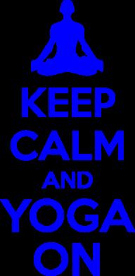 Принт Женская футболка с V-образным вырезом KEEP CALM and YOGA ON - FatLine