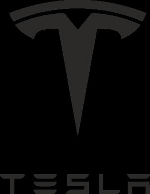 Принт Женская футболка с V-образным вырезом Tesla Logo - FatLine