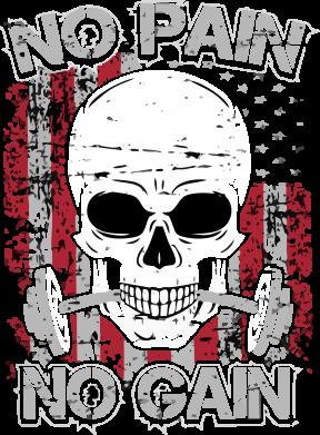 Принт Мужская футболка  с V-образным вырезом No pain-no gain skull - FatLine
