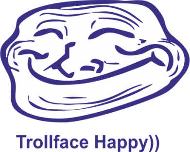 ����� ������� �������� � V-������� ������ Trollface happy - FatLine