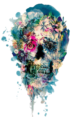 ����� �������� Flower Skull 4 - FatLine