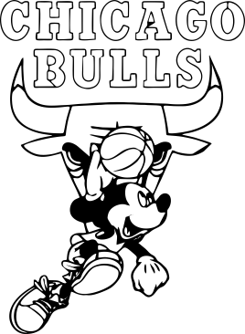 Принт Подушка Mickey and Chicago Bulls - FatLine