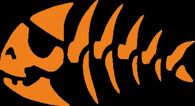 Принт Штаны скелет рыбки - FatLine