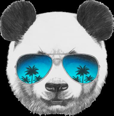 Принт Женская футболка поло Панда в очках - FatLine