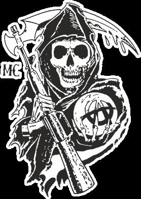 Принт Мужская футболка  с V-образным вырезом Сыны Анархии - FatLine