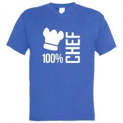 Мужская футболка  с V-образным вырезом 100% Chef - FatLine