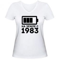 Женская футболка с V-образным вырезом 1983 - FatLine