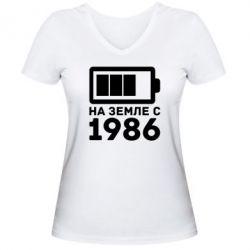 Женская футболка с V-образным вырезом 1986 - FatLine