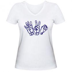 Женская футболка с V-образным вырезом 4:20 (четыре:двадцать)