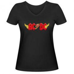 Женская футболка с V-образным вырезом AC/DC с крыльями - FatLine