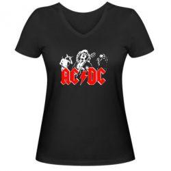 Жіноча футболка з V-подібним вирізом AC DC - FatLine