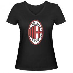 Женская футболка с V-образным вырезом AC Milan - FatLine