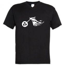 Мужская футболка  с V-образным вырезом Аццкий байк - FatLine