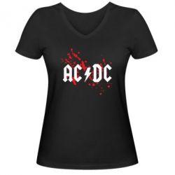 Женская футболка с V-образным вырезом ACDC - FatLine