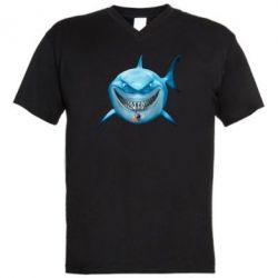 Чоловічі футболки з V-подібним вирізом Акула посміхається