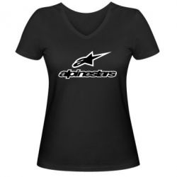 Женская футболка с V-образным вырезом Alpinestar Logo - FatLine
