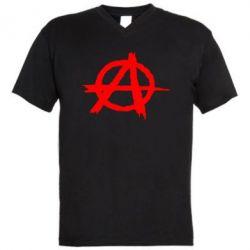Мужская футболка  с V-образным вырезом Anarchy - FatLine