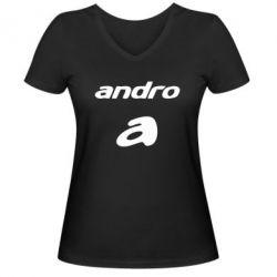 Женская футболка с V-образным вырезом Andro - FatLine