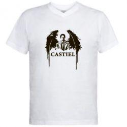 Мужская футболка  с V-образным вырезом Ангел Кастиэль - FatLine