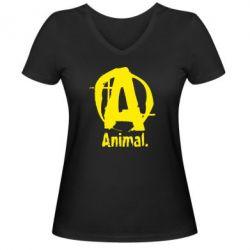 Женская футболка с V-образным вырезом Animal - FatLine