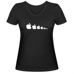 Женская футболка с V-образным вырезом Apple Evolution - FatLine