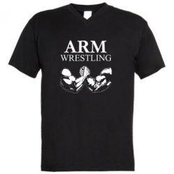 Мужская футболка  с V-образным вырезом Arm Wrestling - FatLine