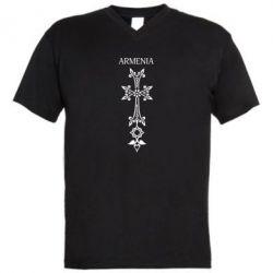Мужская футболка  с V-образным вырезом Armenia - FatLine