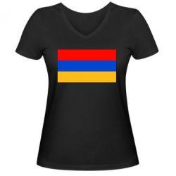 Женская футболка с V-образным вырезом Армения - FatLine