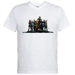 Мужская футболка  с V-образным вырезом Avengers on the rock - FatLine