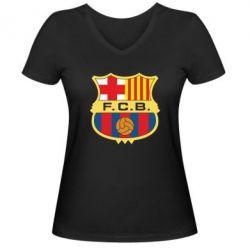 Женская футболка с V-образным вырезом Barcelona - FatLine