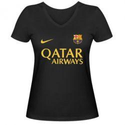 Женская футболка с V-образным вырезом Барселона - FatLine