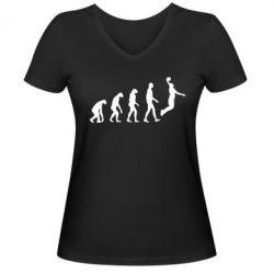 Женская футболка с V-образным вырезом Basketball Evolution - FatLine