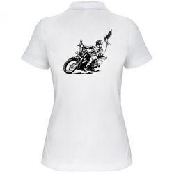 Женская футболка поло Байкер на мотоцикле - FatLine