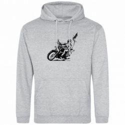 Мужская толстовка Байкер на мотоцикле - FatLine