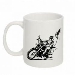 Кружка 320ml Байкер на мотоцикле - FatLine